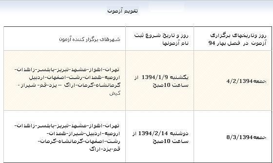 MSRT Bahar 94 اعلام زمانبندی ثبت نام و برگزاری آزمون های MSRT بهار ۱۳۹۴