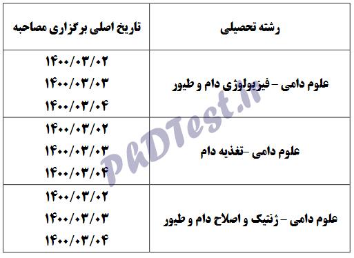 زمان مصاحبه دکتری دانشگاه علوم کشاورزی و منابع طبیعی خوزستان